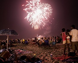 fireworks on the beach at night